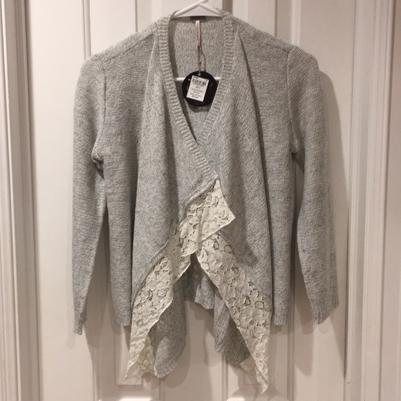 Poof! Other - Girls light grey lace trim fly-away cardigan -NWT